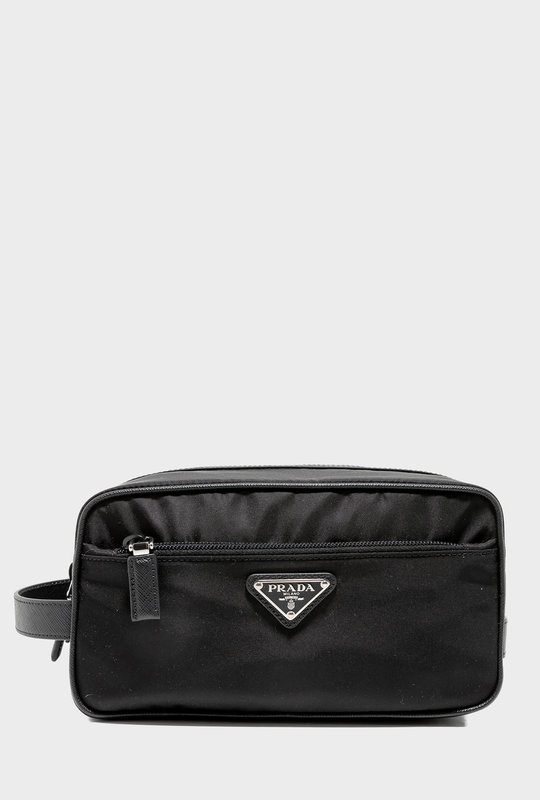 Nylon And Saffiano Leather Travel Pouch