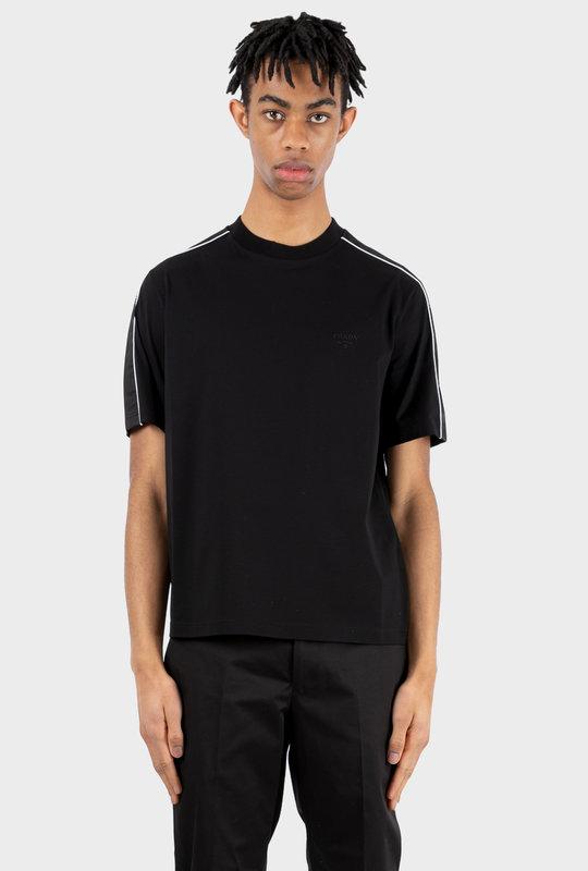 Stretch Cotton T-shirt With Nylon Details Black