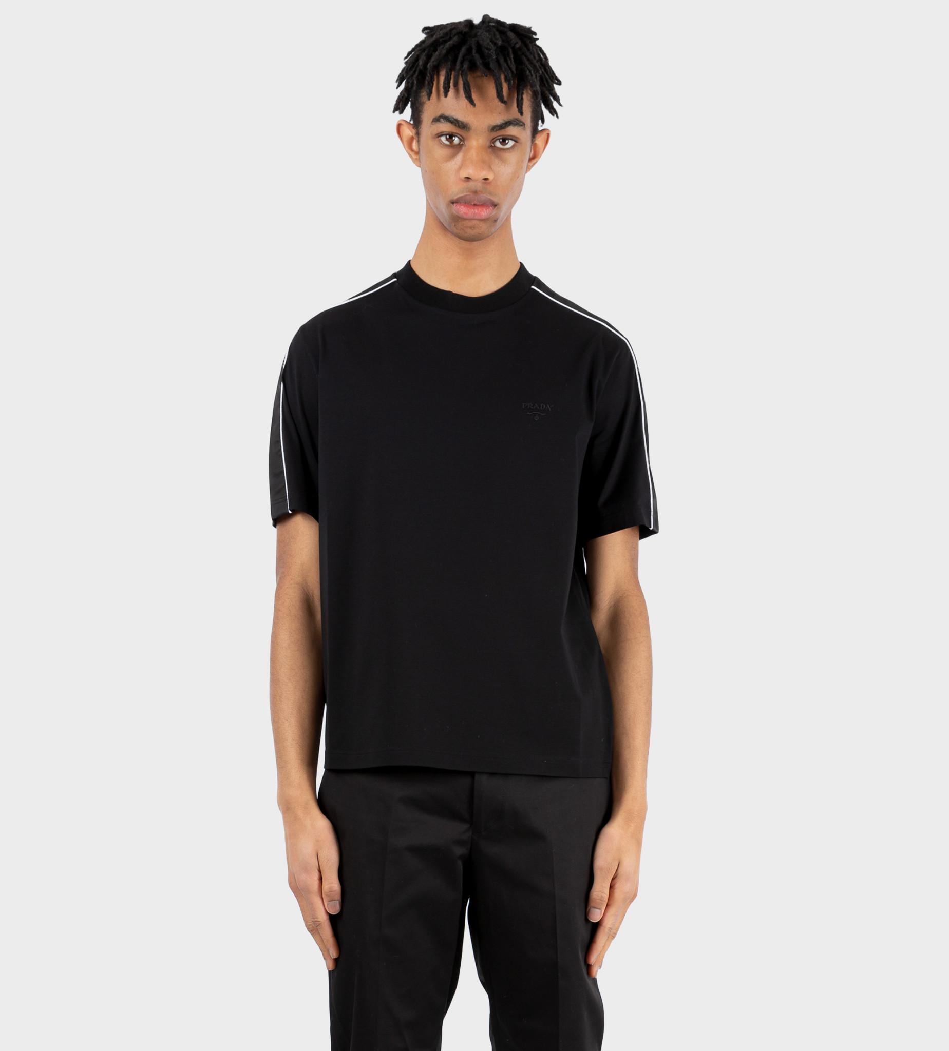 PRADA Stretch Cotton T-shirt With Nylon Details Black
