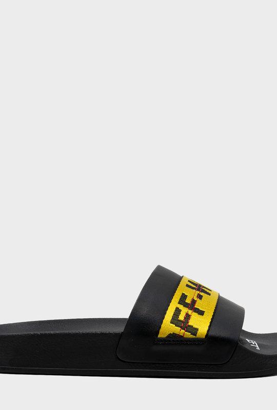 Logo-Tape Detail Slides Black