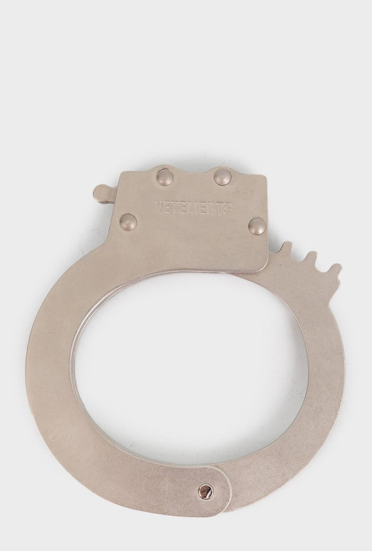 Sliver-tone handcuff bracelet