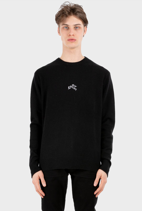 Refracted Embroidered Sweater Black