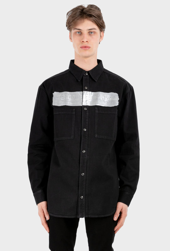 Logo-Embossed Denim Shirt Black