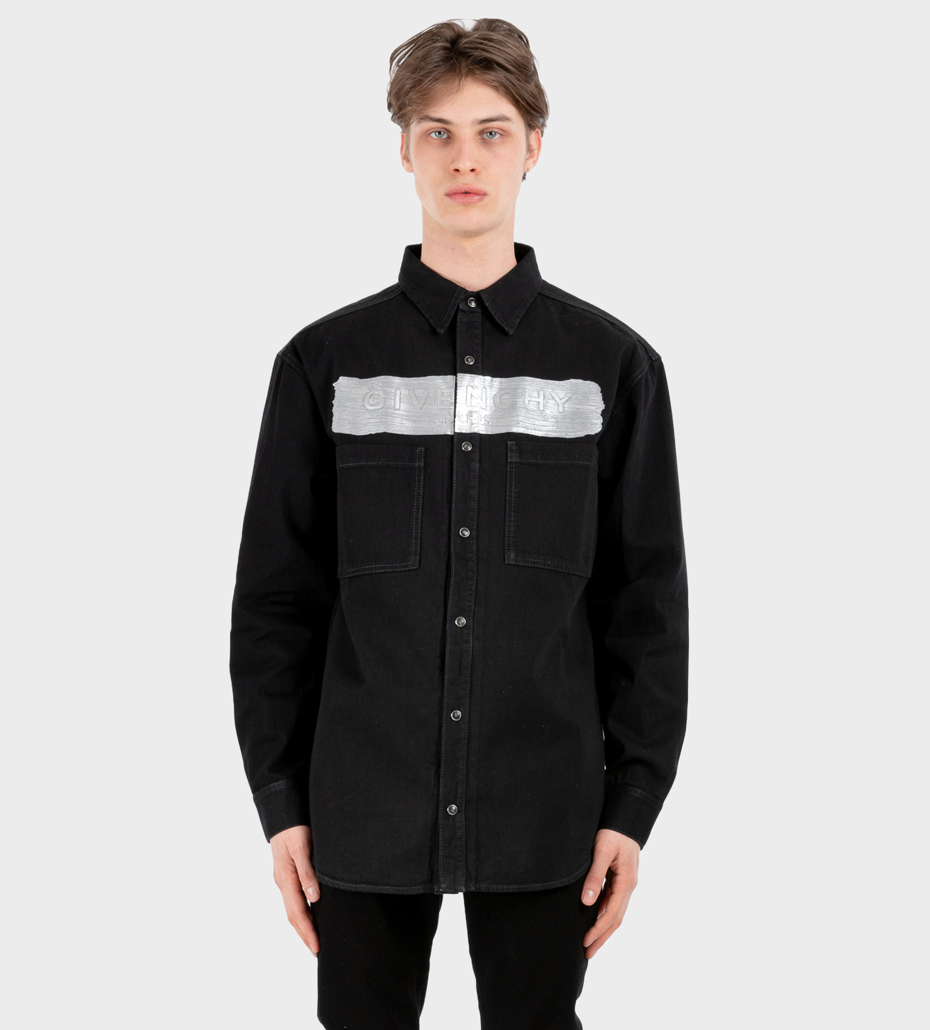 GIVENCHY Logo-Embossed Denim Shirt Black