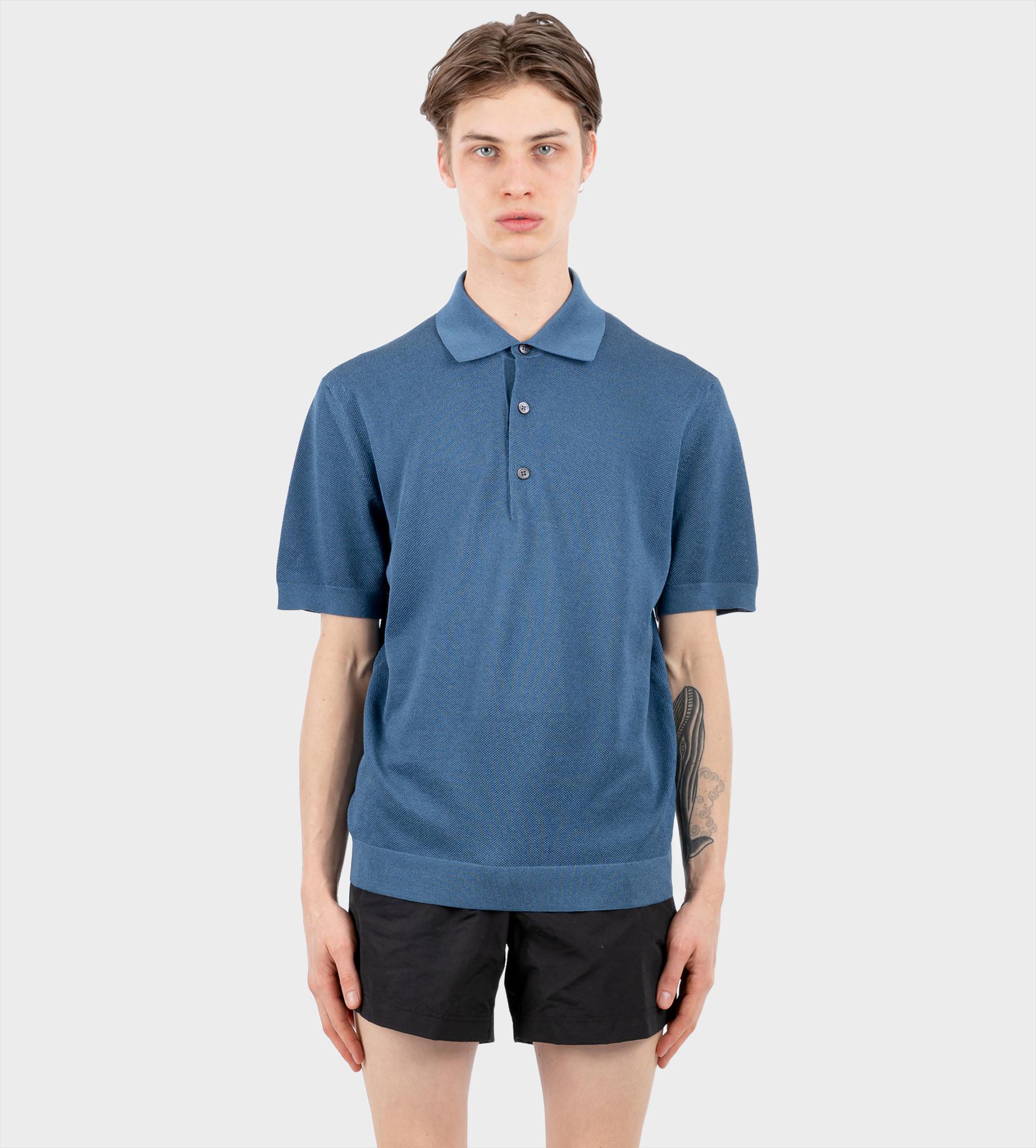 TOM FORD Bicolour Stitch Polo Blue
