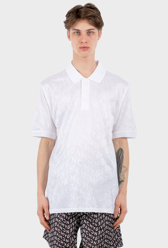 Refracted Polo Shirt In Jacquard White