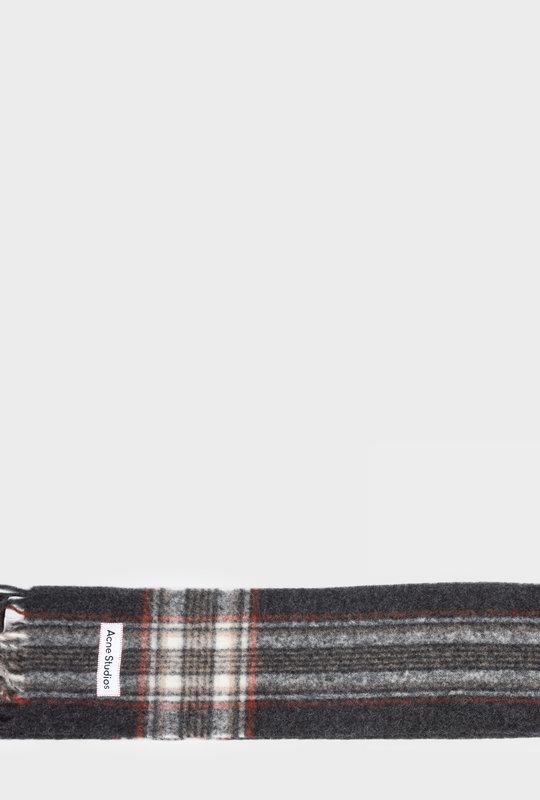 Tartan check scarf anthracite grey