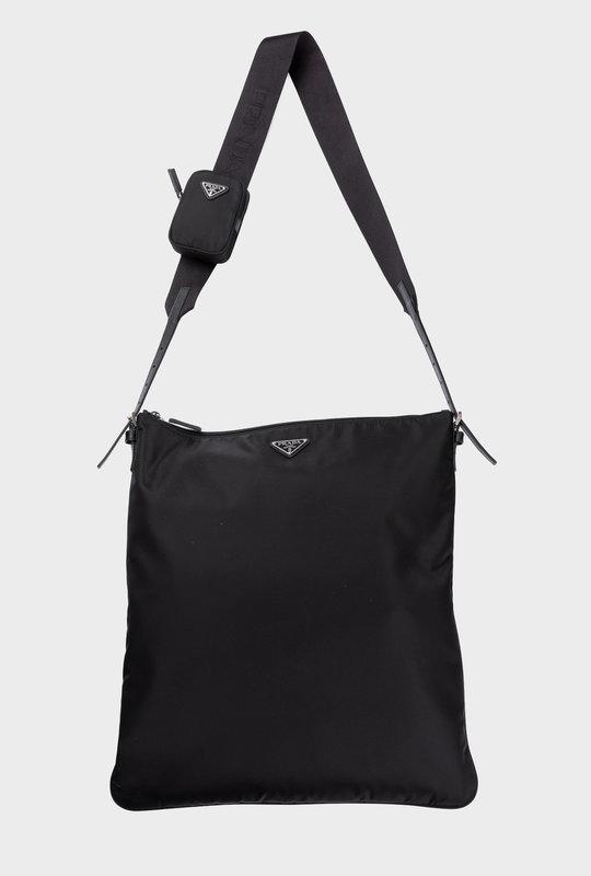 Re-Nylon Saffiano Leather Shoulder Bag Black