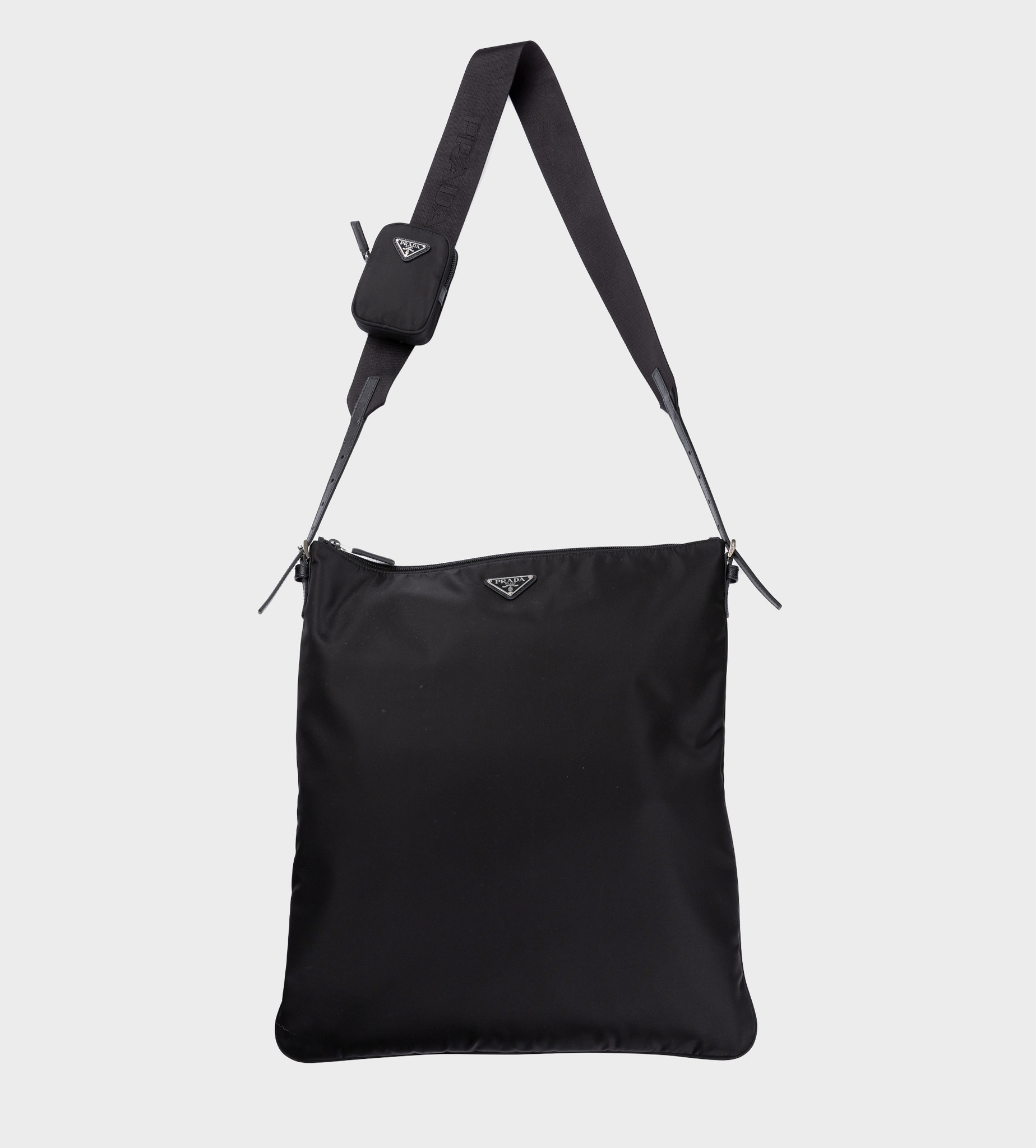 PRADA Re-Nylon Saffiano Leather Shoulder Bag Black