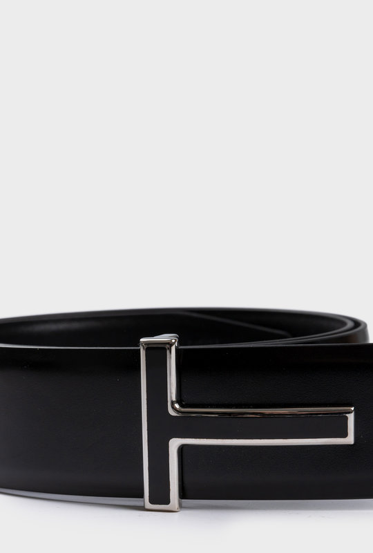 T Icon Leather Belt Silver