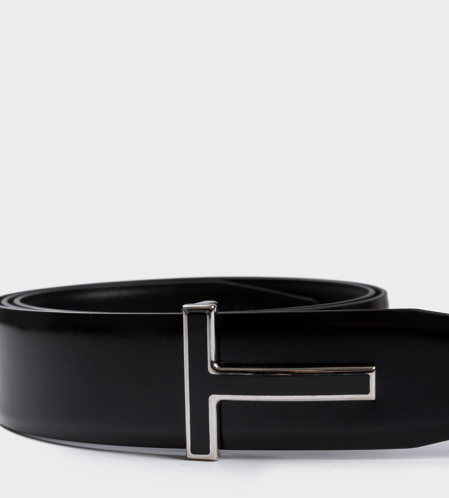 TOM FORD T Icon Leather Belt Silver