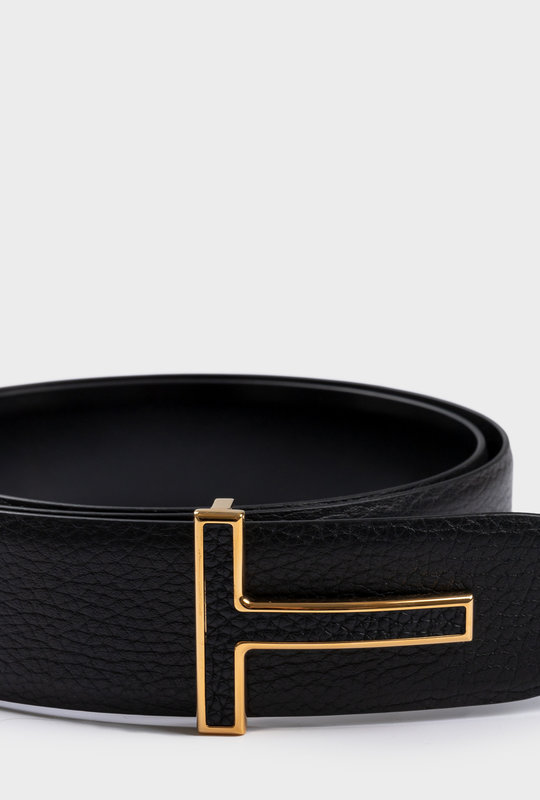 Reversible T Buckle Leather Belt Gold