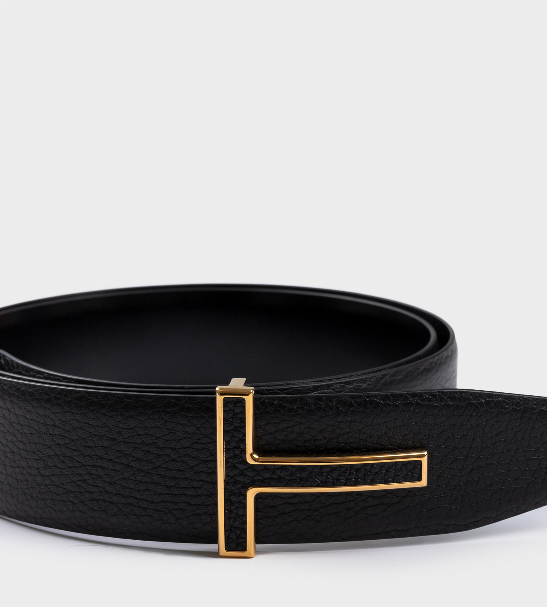 TOM FORD Reversible T Buckle Leather Belt Gold