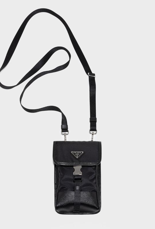 Nylon and Saffiano Leather Smartphone Case Black