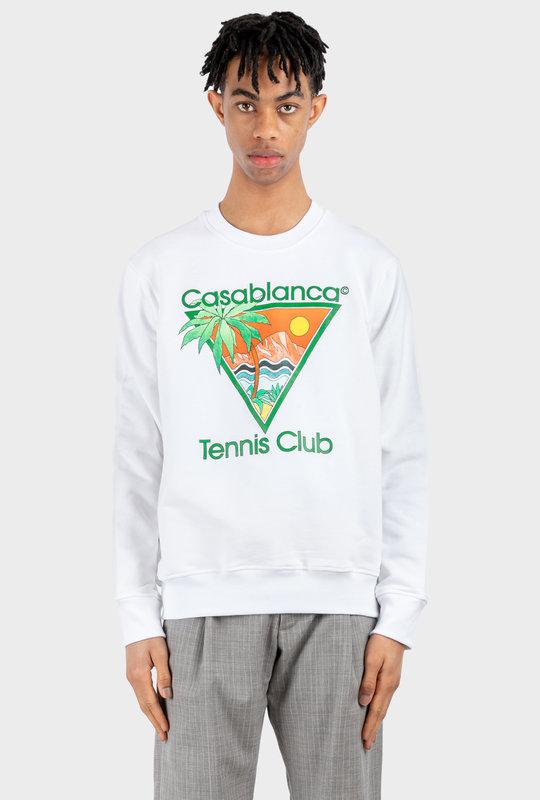 Tennis Club Print Sweatshirt White