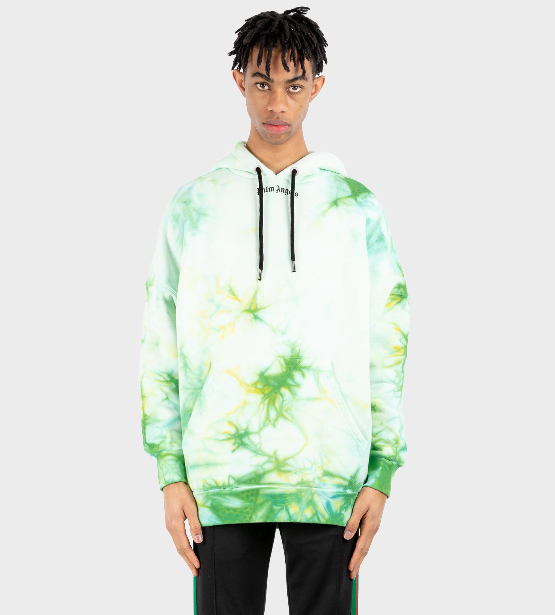 PALM ANGELS Hoodie Tie-Dye Print Green