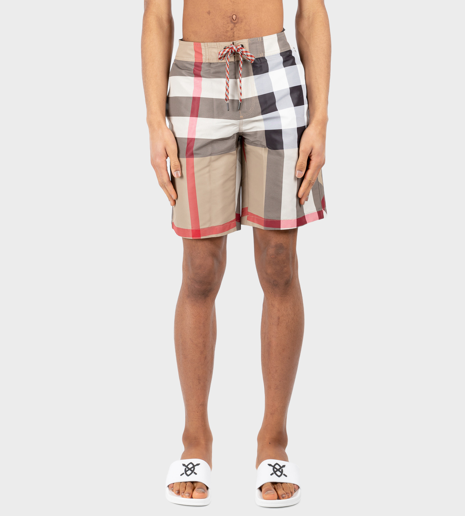 BURBERRY Check Swim Shorts Beige