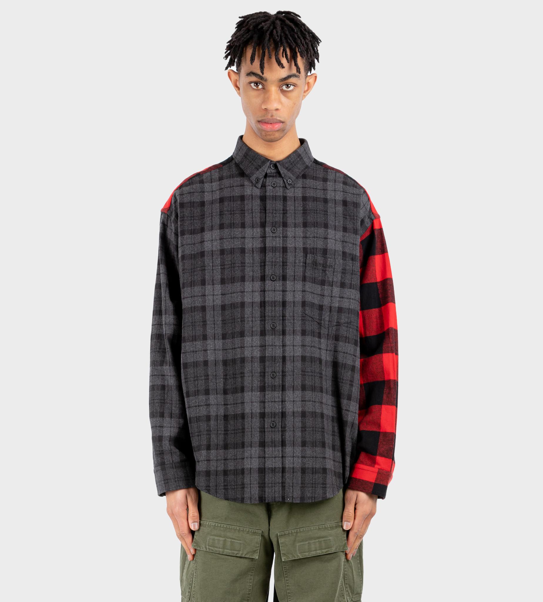BALENCIAGA Patchwork Shirt Black Red