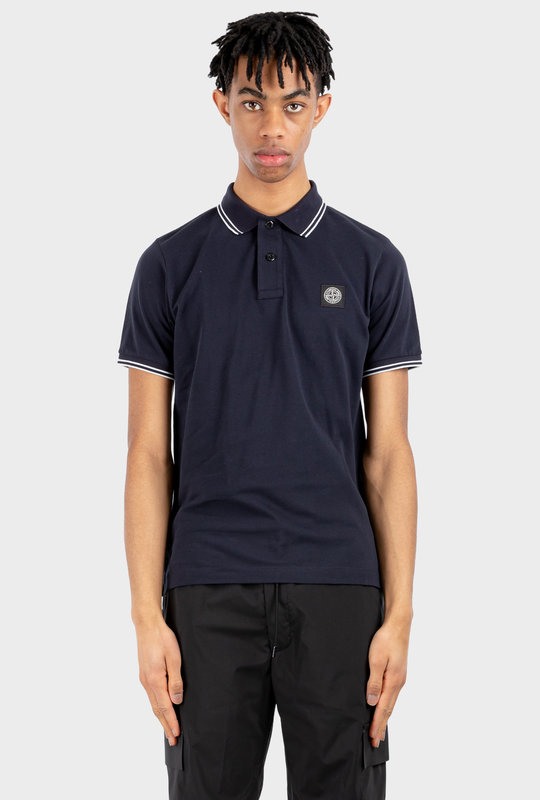 Logo Patch Short-Sleeved Polo Shirt Navy