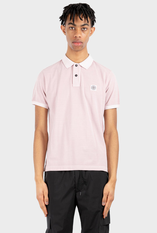 Logo Patch Short-Sleeved Polo Shirt Light Pink