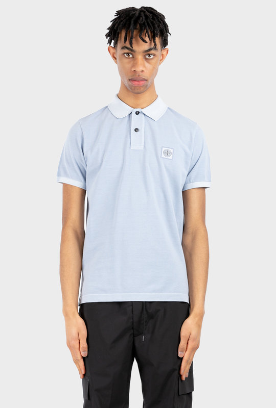 Logo Patch Short-Sleeved Polo Shirt Light Blue