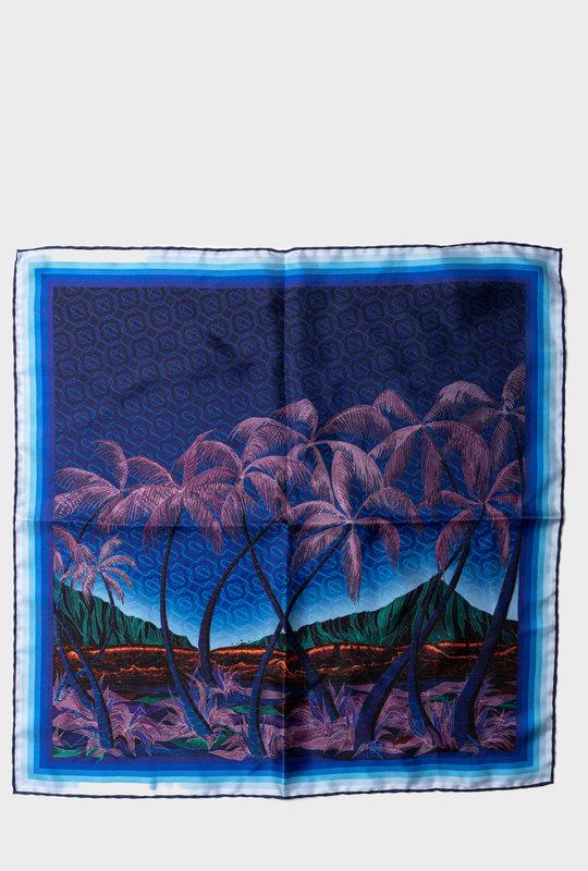 Graphic-Print Silk Scarf Blue