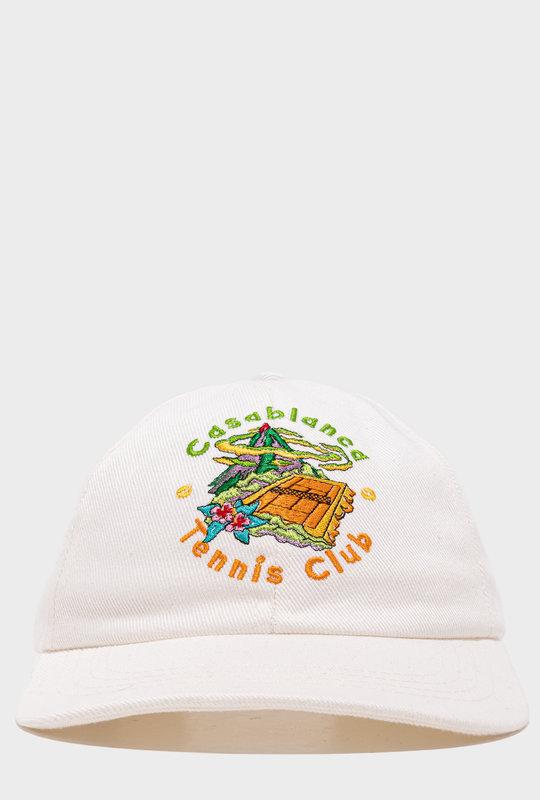 Tennis Club Printed Cap White