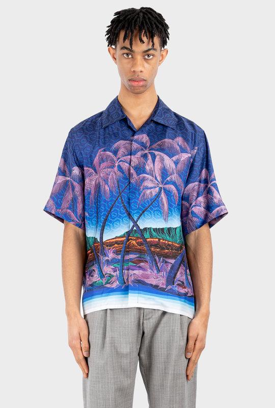 Nuit A Maui Printed Silk Twill Shirt Blue