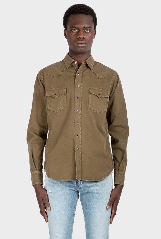 Western Shirt Stonewashed Denim Khaki