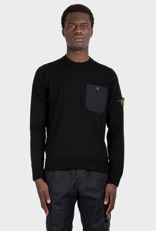 Chest-Pocket Knit Jumper Black