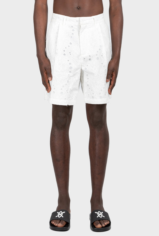 Klevon Lace Shorts White