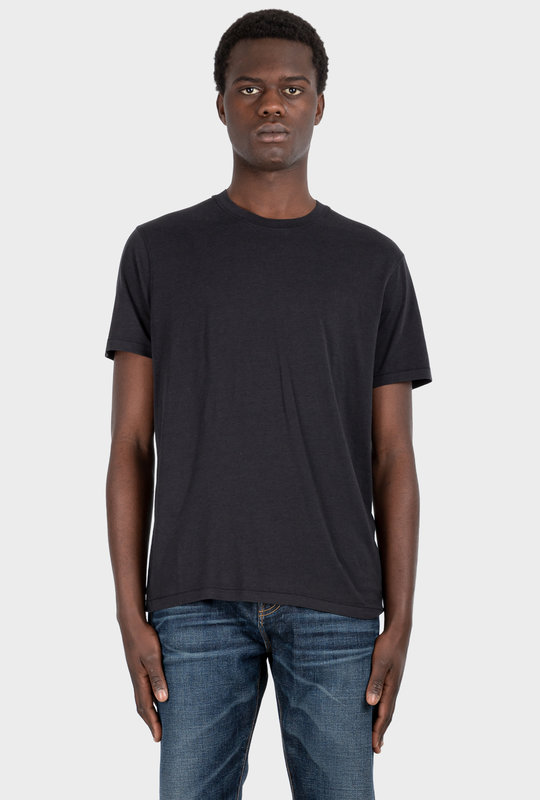 Viscose Cotton Crew Neck T-Shirt Black