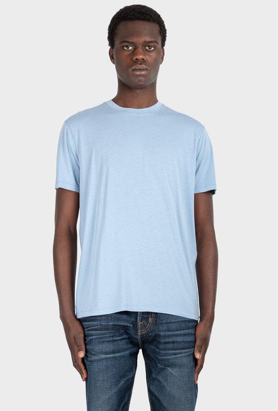 Viscose Cotton Crew Neck T-Shirt Blue