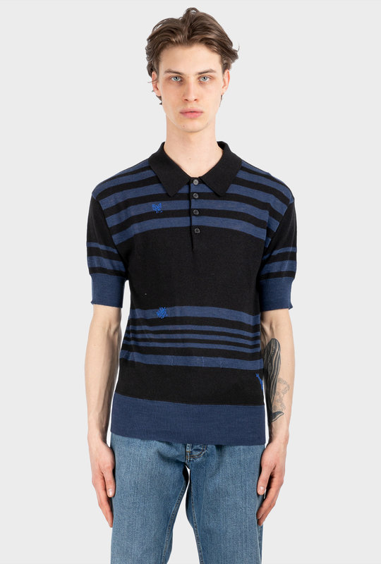 Embroidered Striped Knitted Polo