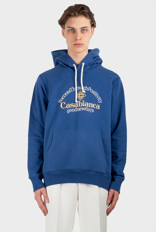 Embroidery Cotton Jersey Hoodie Navy