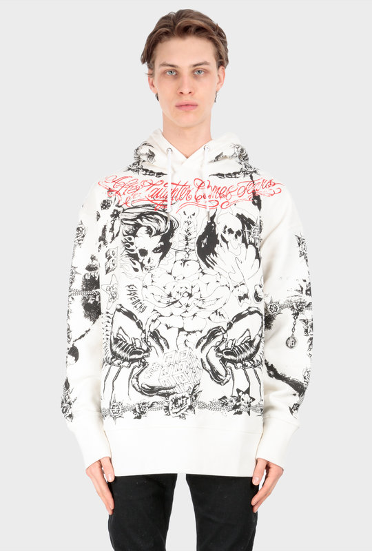 Oversized Printed Hoodie White