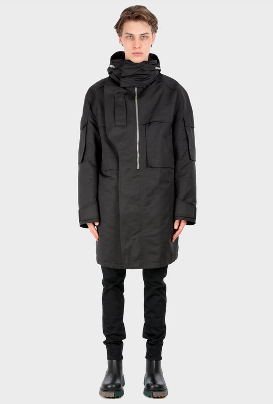 Oversized Quilted Ottoman Parka Black