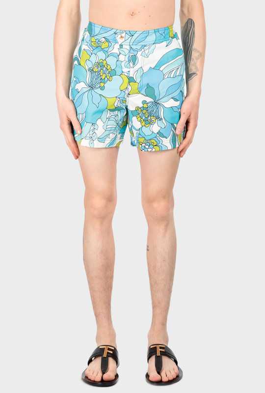 Floral-Print Swim Shorts Blue