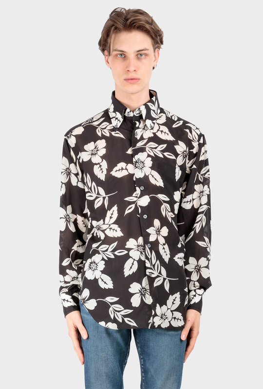 Oversized Floral-Printed Voile Shirt Black