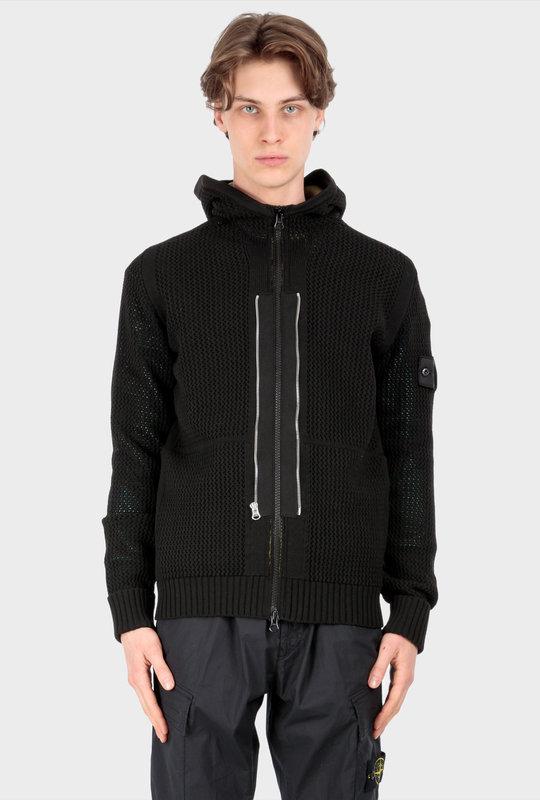 510A1 Twin Zip Hooded Knit Wear Black