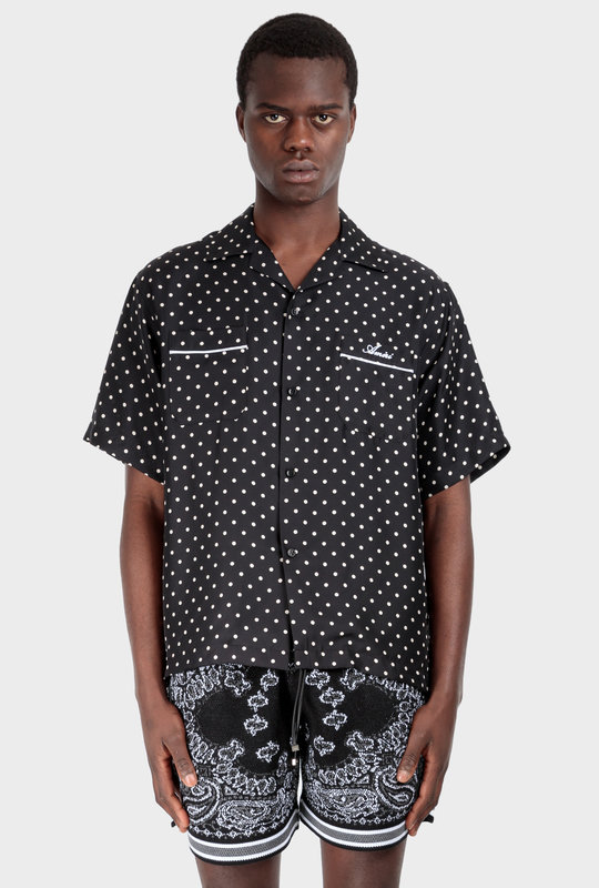 Polka Dot-Print Silk Shirt Black