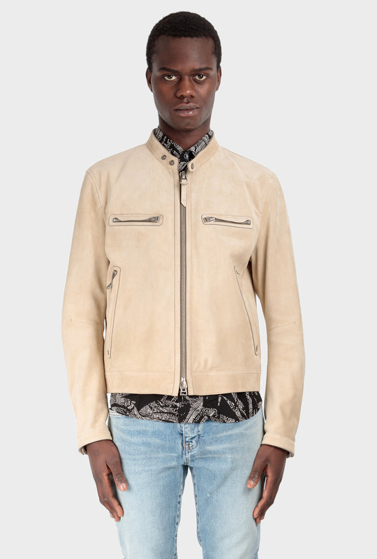 Band Collar Leather Jacket Beige