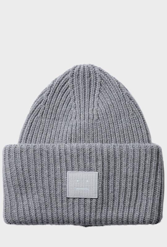 Rib Knit Beanie Grey Melange
