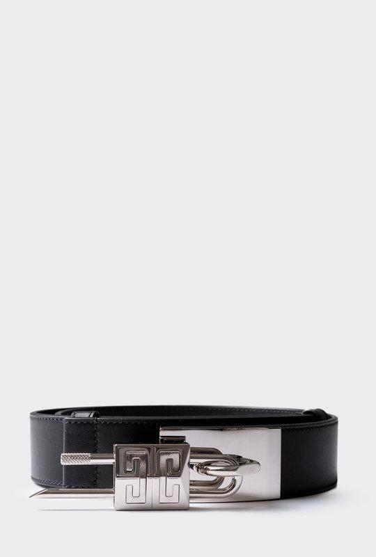 Lock Belt Leather With Padlock Black