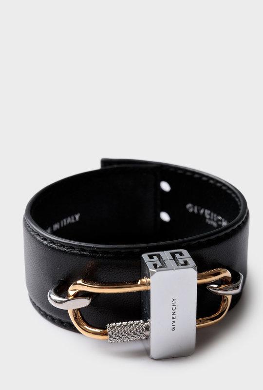 Lock Bracelet Metal Leather Black