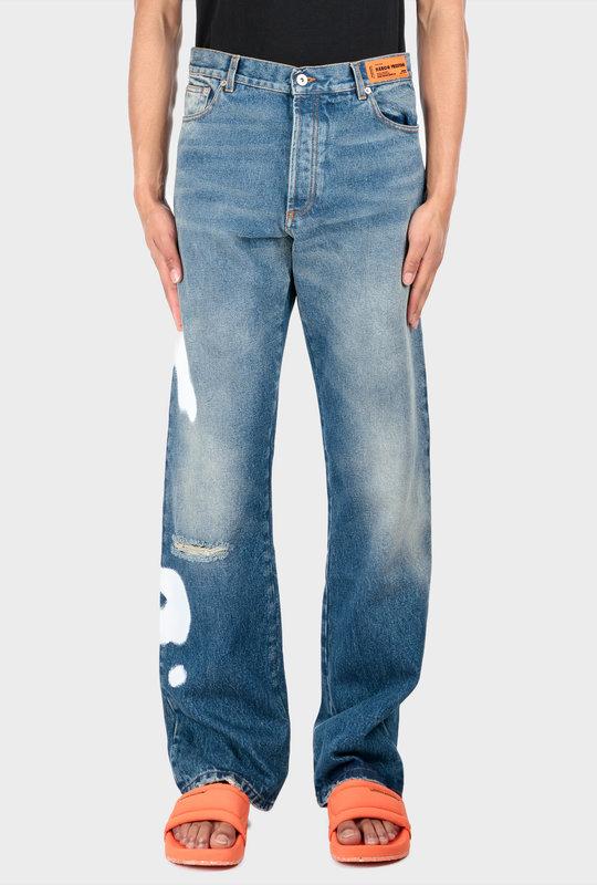 Five Pockets Denim Jeans Vintage Blue White