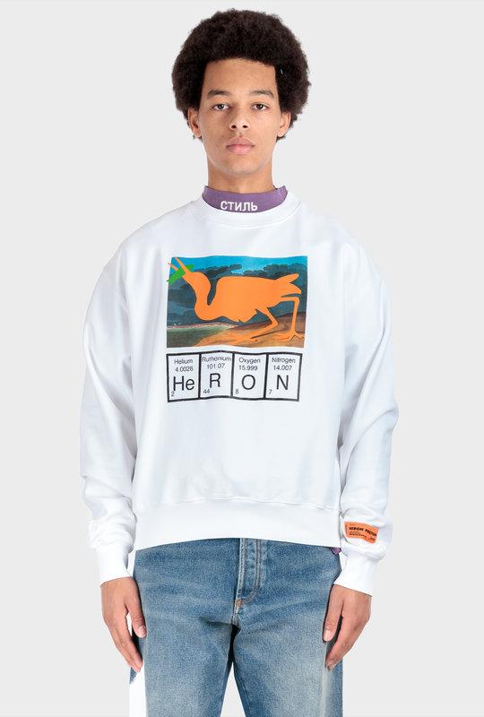 Heron Print Sweatshirt White