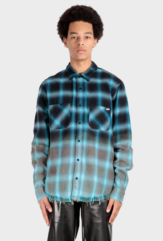 Bleached Shadow Plaid Cyan