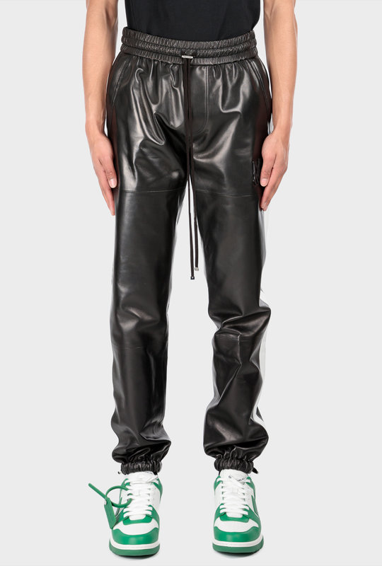 Leather Jogger Pants Black