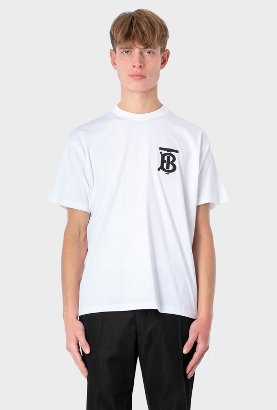 Monogram Motif Cotton Oversized T-shirt White